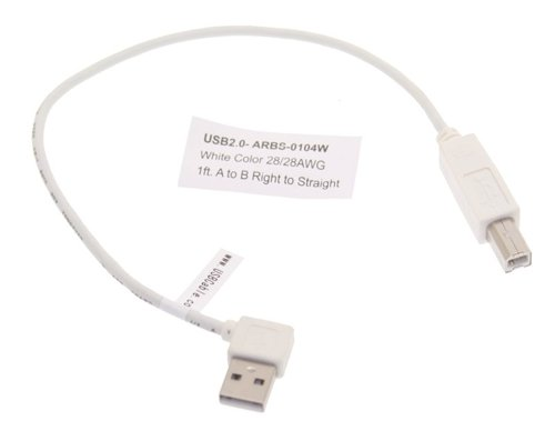 1ft. Right to Straight A to B 28/28AWG White Cable USB 2.0 RoHS