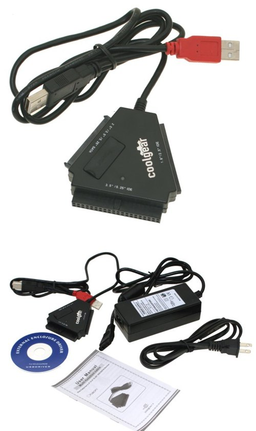 USB2.0 to SATA and EIDE ATA Bridge Adapter / Converter Cable for Sata and IDE Hard Drives