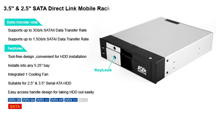 DuoDrive QUICKSWAP SATA MOBILE RACK for 2.5 and 3.5 Inch Drives