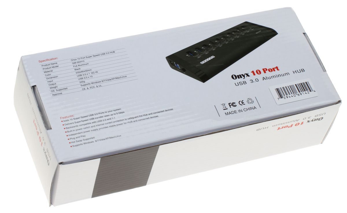 USB Hub SuperSpeed 3.0 10-Port Aluminum Shell Case with LED Activity
