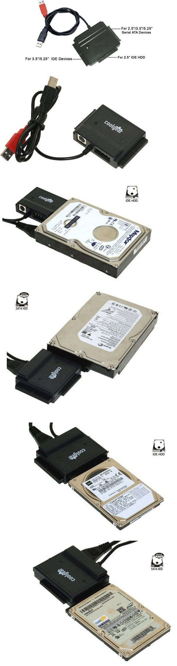 USB 2.0 to IDE/SATA Adapter, Works with 2.5/3.5/5.25  HDD