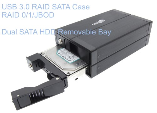 USB 3.0 SATA Hard Drive RAID Enclosure Dual Drive Removable Bay