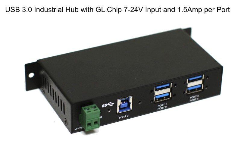Din-Rail GL Chip 1.5Amp Output USB 3.0 4-Port Industrial Hub Metal Case with Screw Lock Cable Option